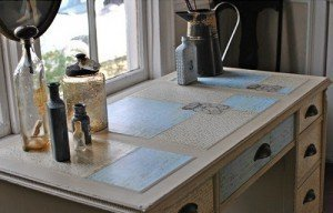 sobre escritorio vintage decoupage chalk paint autentico malaga