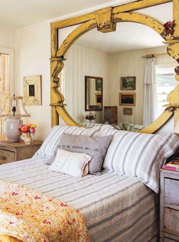 dormitorio country style con cabecero vintage reciclado