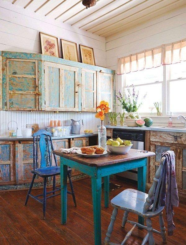 muebles de cocina con chalk paint envejecidos