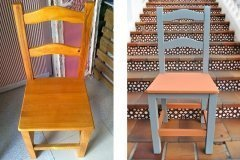 Antes y después de una vieja silla. Azul Náutico y un Naranja que nos hicimos